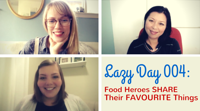 Lazy Day with Ashley Rodriguez of Not Without Salt, Jaden Hair of Steamy Kitchen, and Maria Siriano of Sift and Whisk on The Dinner Special podcast talking about their favorite things.